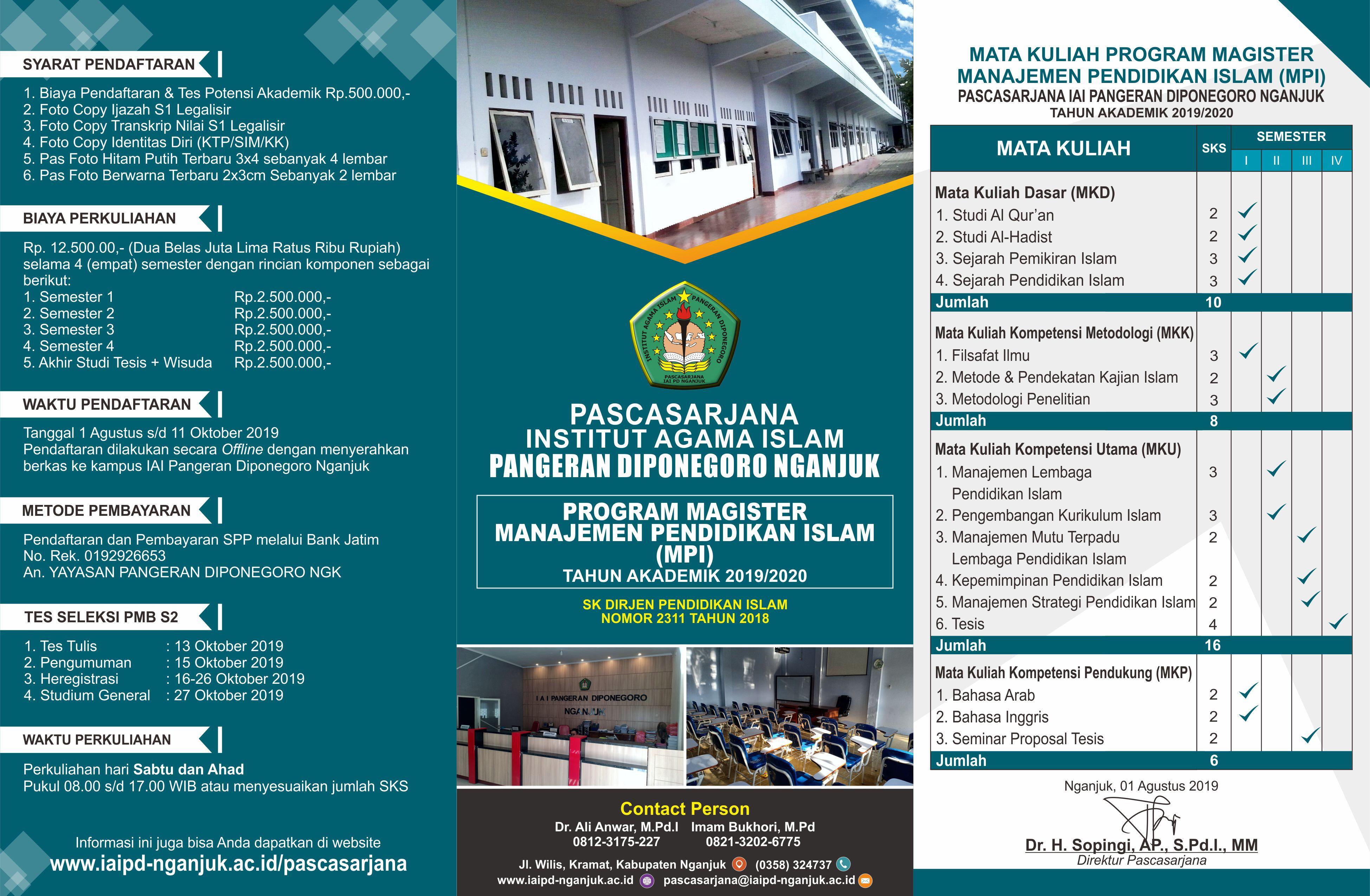 Telah Dibuka Pendaftaran Pascasarjana Manajemen Pendidikan Islam 2019-2020