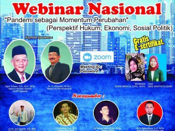 Angkat Tema Ekonomi Selama Pandemi, Fakultas Syariah dan Ekonomi Islam Gelar Webinar Nasional
